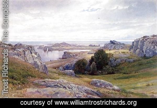 William Trost Richards - Coast with Sailboat, Newport