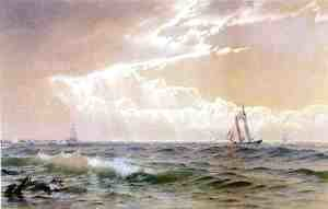 Coastal Scene with Sailboats