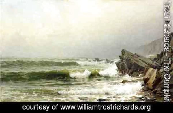 William Trost Richards - A Misty Morning on the Channel Coast, England