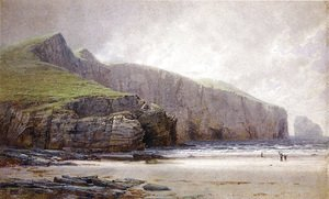 William Trost Richards - Fisherman on the Shore, Trebarwith Strand, Cornwall