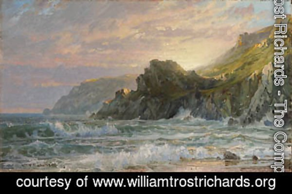 William Trost Richards - Sunset on a Rocky Coast