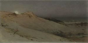 William Trost Richards - Sandhills Moonrise (Moonrise Over The Dunes)