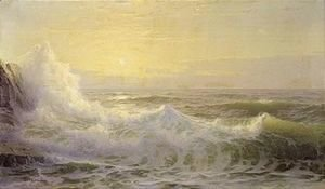 William Trost Richards - Crashing waves at sunset