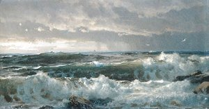 William Trost Richards - Surf On Rocks